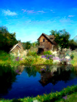 Virtual Painting - Pond and House